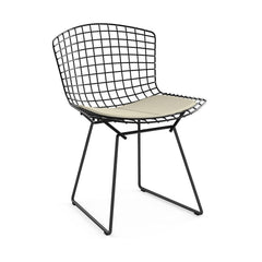 Bertoia Side Chair with Seat Pad Side/Dining Knoll Black Classic Boucle - Neutral