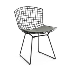 Bertoia Side Chair with Seat Pad Side/Dining Knoll Black Classic Boucle - Smoke