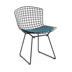 Bertoia Side Chair with Seat Pad Side/Dining Knoll Black Classic Boucle - Aegean