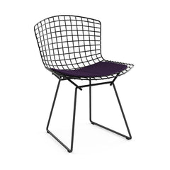 Bertoia Side Chair with Seat Pad Side/Dining Knoll Black Classic Boucle - Black Iris