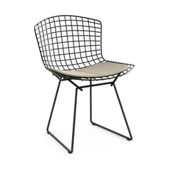 Bertoia Side Chair with Seat Pad Side/Dining Knoll Black Ultrasuede - Sandstone