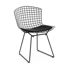 Bertoia Side Chair with Seat Pad Side/Dining Knoll Black Ultrasuede - Black Onyx