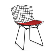 Bertoia Side Chair with Seat Pad Side/Dining Knoll Black Ultrasuede - Red