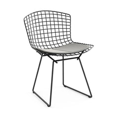 Bertoia Side Chair with Seat Pad Side/Dining Knoll Black Ultrasuede - Silver