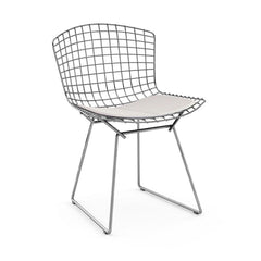 Bertoia Side Chair with Seat Pad Side/Dining Knoll Polished Chrome Delite - Stone
