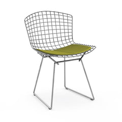 Bertoia Side Chair with Seat Pad Side/Dining Knoll Polished Chrome Delite - Green