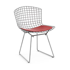 Bertoia Side Chair with Seat Pad Side/Dining Knoll Polished Chrome Vinyl - Red