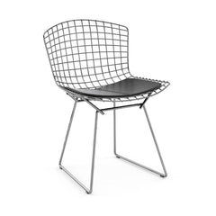 Bertoia Side Chair with Seat Pad Side/Dining Knoll Polished Chrome Vinyl - Black