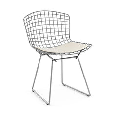 Bertoia Side Chair with Seat Pad Side/Dining Knoll Polished Chrome Vinyl - White
