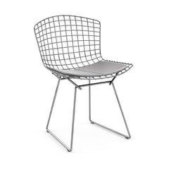 Bertoia Side Chair with Seat Pad Side/Dining Knoll Polished Chrome Vinyl - Fog
