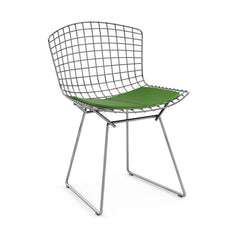 Bertoia Side Chair with Seat Pad Side/Dining Knoll Polished Chrome Vinyl - Lime