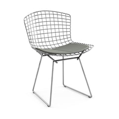 Bertoia Side Chair with Seat Pad Side/Dining Knoll Polished Chrome Classic Boucle - Smoke
