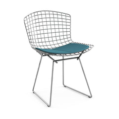 Bertoia Side Chair with Seat Pad Side/Dining Knoll Polished Chrome Classic Boucle - Aegean