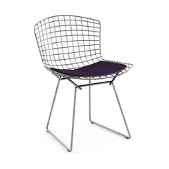 Bertoia Side Chair with Seat Pad Side/Dining Knoll Polished Chrome Classic Boucle - Black Iris