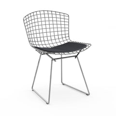Bertoia Side Chair with Seat Pad Side/Dining Knoll Polished Chrome Haze - Anthracite