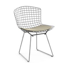 Bertoia Side Chair with Seat Pad Side/Dining Knoll Polished Chrome Ultrasuede - Sandstone