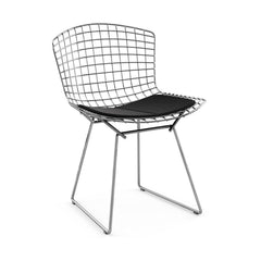 Bertoia Side Chair with Seat Pad Side/Dining Knoll Polished Chrome Ultrasuede - Black Onyx