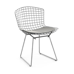 Bertoia Side Chair with Seat Pad Side/Dining Knoll Polished Chrome Ultrasuede - Silver