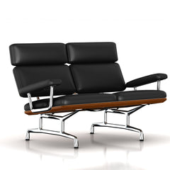 Eames 2-Seat Sofa by Herman Miller Sofa herman miller Walnut Black Leather