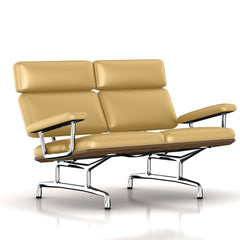 Eames 2-Seat Sofa by Herman Miller Sofa herman miller Teak + $650.00 Honey Leather