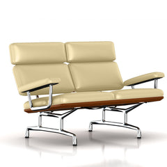 Eames 2-Seat Sofa by Herman Miller Sofa herman miller Walnut Winter White Dream Cow Leather + $1781.00