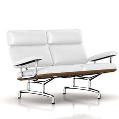 Eames 2-Seat Sofa by Herman Miller Sofa herman miller Teak + $650.00 Fresh Snow Dream Cow Leather + $1781.00