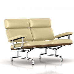 Eames 2-Seat Sofa by Herman Miller Sofa herman miller Teak + $650.00 Winter White Dream Cow Leather + $1781.00