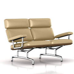 Eames 2-Seat Sofa by Herman Miller Sofa herman miller Teak + $650.00 Pebbles Dream Cow Leather + $1781.00