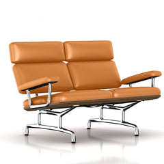 Eames 2-Seat Sofa by Herman Miller Sofa herman miller Teak + $650.00 Paprika Dream Cow Leather + $1781.00