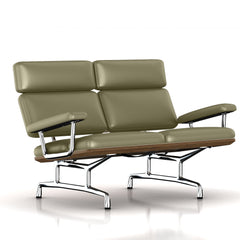 Eames 2-Seat Sofa by Herman Miller Sofa herman miller Teak + $650.00 Soft Green Dream Cow Leather + $1781.00