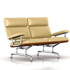 Eames 2-Seat Sofa by Herman Miller Sofa herman miller Walnut Morning Haze Metallic Leather + $1781.00