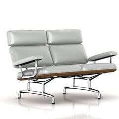 Eames 2-Seat Sofa by Herman Miller Sofa herman miller Teak + $650.00 Winter Sky Metallic Leather + $1781.00