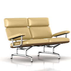 Eames 2-Seat Sofa by Herman Miller Sofa herman miller Teak + $650.00 Morning Haze Metallic Leather + $1781.00