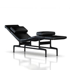 Eames Chaise by Herman Miller lounge chair herman miller Eggplant Frame / Black MCL Leather