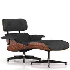 Eames Lounge Chair and Ottoman lounge chair herman miller Walnut Veneer Black MCL Leather + $200.00
