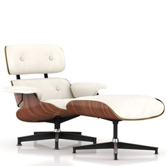 Eames Lounge Chair and Ottoman lounge chair herman miller Walnut Veneer Pearl White MCL Leather +$200.00