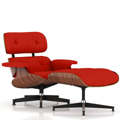 Eames Lounge Chair and Ottoman lounge chair herman miller Walnut Veneer Red MCL Leather + $200.00