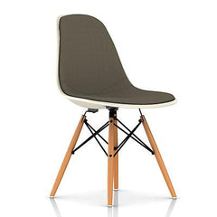 Eames Molded Fiberglass Upholstered Side Chair with Wood Dowel Base