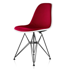 Eames Molded Fiberglass Upholstered Side Chair with Wire Base