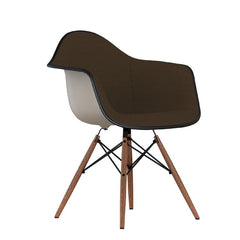 Eames Molded Plastic Upholstered Arm Chair with Wood Dowel Base Side/Dining herman miller