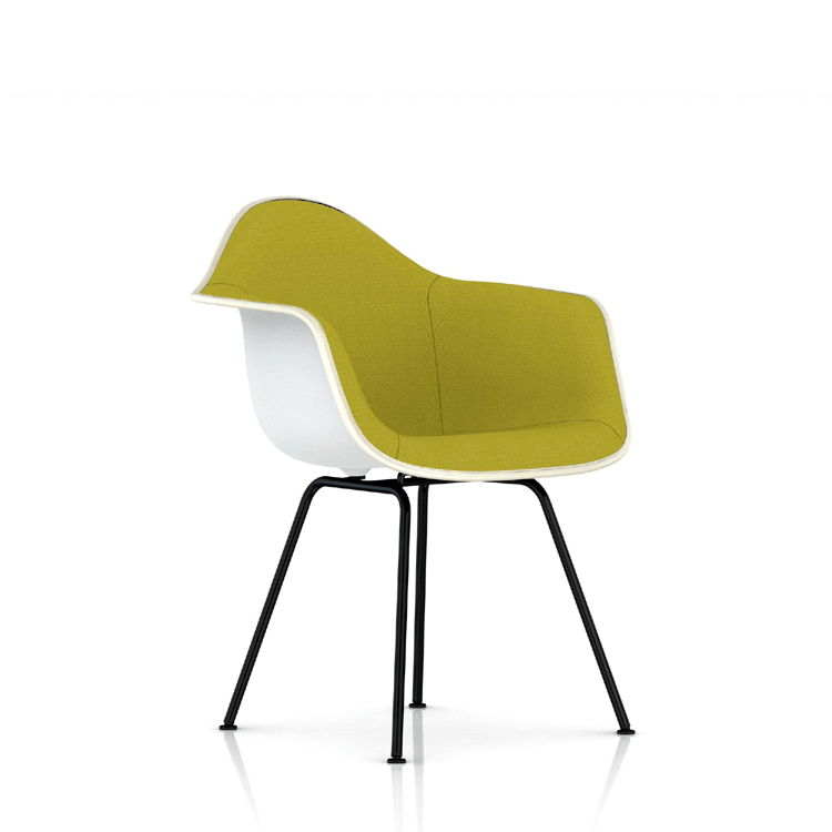 eames molded plastic upholstered armchair with 4 leg base