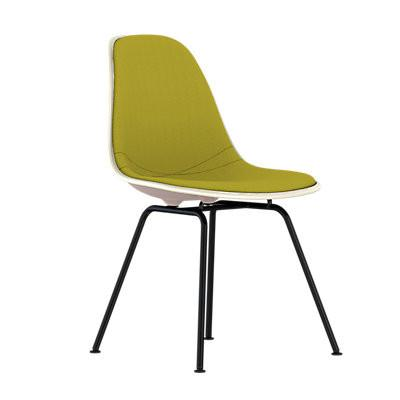 Eames Molded Plastic Upholstered Side Chair With 4 Legged Base