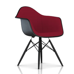 Eames Molded Fiberglass Upholstered Armchair with Wood Dowel Base