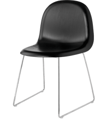 Gubi 3D Sledge Base Wood Dining Chair Chairs Gubi Chrome Blackstained Beech Plastic glides