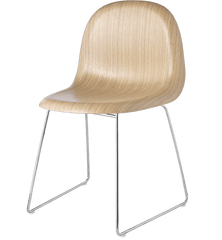 Gubi 3D Sledge Base Wood Dining Chair Chairs Gubi Chrome Oak Plastic glides