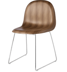 Gubi 3D Sledge Base Wood Dining Chair Chairs Gubi Chrome Walnut Plastic glides