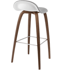 Gubi 3D Wood Base Stool with Front Upholstered Stools Gubi