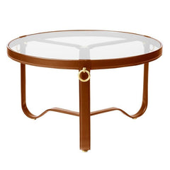 "Adnet Coffee Table - Circular Coffee Tables Gubi 28.75"" Tan Leather"