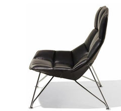 Jehs+Laub Wire Base Lounge - Leather lounge chair Knoll