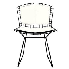 Bertoia Side Chair with Seat and Back Pad Side/Dining Knoll Black Vinyl - White